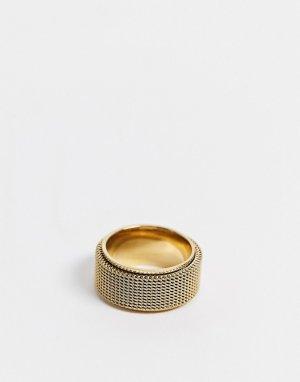Золотистое кольцо с сетчатой отделкой -Золотой Seven London