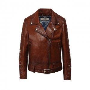 Кожаная куртка Golden Goose Deluxe Brand. Цвет: коричневый