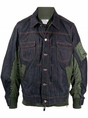 Джинсовая куртка со вставками A.P.C.. Цвет: синий