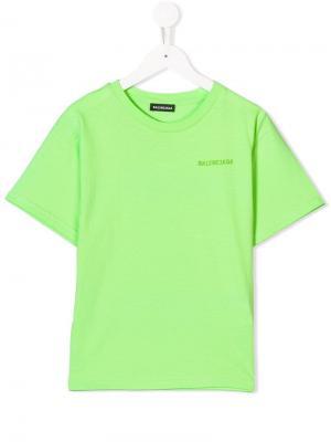 Футболка с флуоресцентным логотипом Balenciaga Kids. Цвет: зеленый