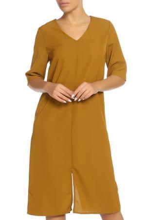 Платье ICHI. Цвет: горчичный