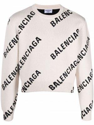 Укороченный джемпер с логотипом Balenciaga. Цвет: нейтральные цвета