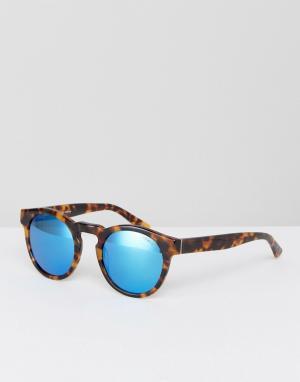 Коричневые круглые солнцезащитные очки Levis. Цвет: коричневый