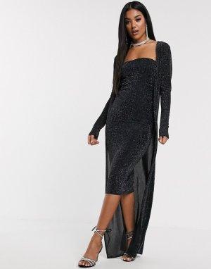 Блестящее платье миди и кардиган макси -Черный ASOS DESIGN