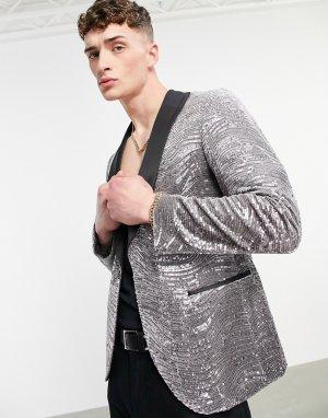 Серебристый пиджак с контрастными лацканами и пайетками Twisted Tailor