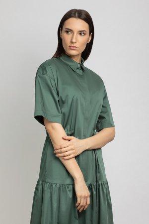Платье с расширенной книзу юбкой VASSA&Co. Цвет: зеленый