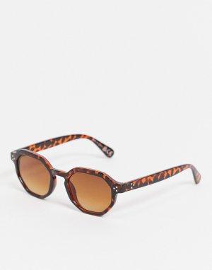 Солнцезащитные очки в шестиугольной черепаховой оправе -Коричневый цвет River Island