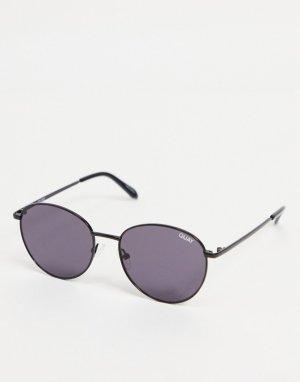 Мужские черные солнцезащитные очки в круглой оправе Quay Loop Me In-Черный цвет Australia
