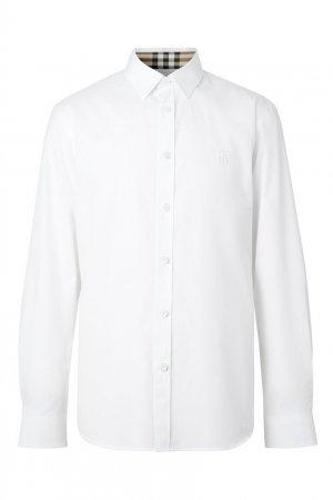 Приталенная белая рубашка с монограммой Burberry. Цвет: белый