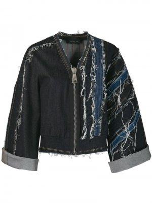 No Ka Oi джинсовая куртка с прорезями Ka'. Цвет: синий