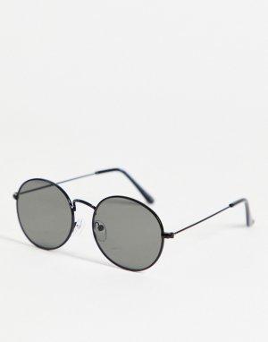 Черные овальные солнцезащитные очки -Черный цвет New Look