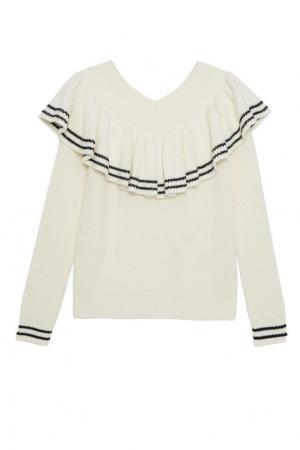 Пуловер из шерсти и хлопка с воланом Self-Portrait. Цвет: белый