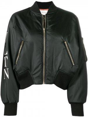 Укороченная куртка-бомбер Valentino. Цвет: черный