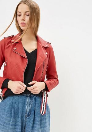 Куртка кожаная Pink Woman. Цвет: красный