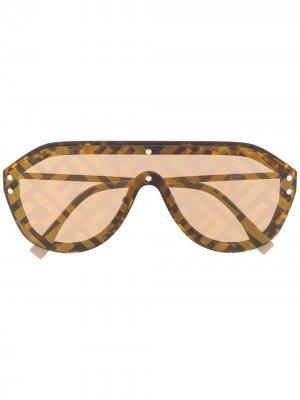 Солнцезащитные очки Fabulous с принтом Fendi Eyewear. Цвет: коричневый
