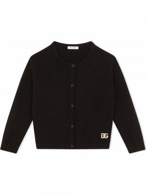 Кардиган с логотипом из стразов Dolce & Gabbana Kids. Цвет: черный