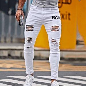 Мужской Рваные джинсы скинни с текстовым принтом SHEIN. Цвет: белый