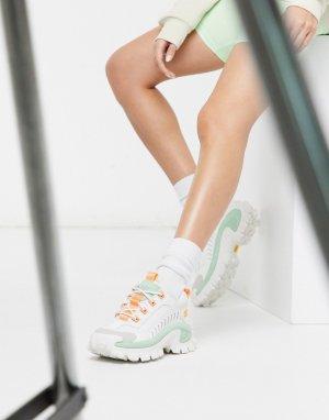 Кроссовки мятного/белого цвета на массивной подошве CAT Intruder-Белый Footwear