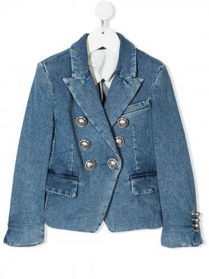 Двубортный пиджак из денима Balmain Kids. Цвет: синий