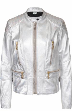 Кожаная куртка с металлизированной отделкой и принтом на спинке Kenzo. Цвет: серебряный