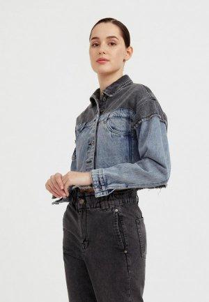 Куртка джинсовая Finn Flare. Цвет: разноцветный