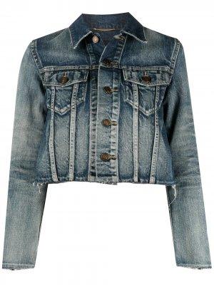 Джинсовая куртка с необработанными краями Saint Laurent. Цвет: синий