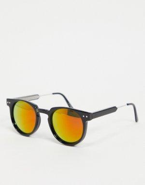 Круглые солнцезащитные очки в стиле унисекс черной оправе и с красными зеркальными стеклами Teddy Boy-Черный Spitfire