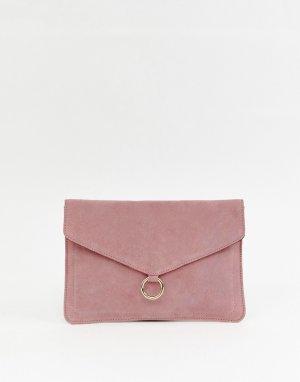 Замшевый клатч с кольцом -Розовый ASOS DESIGN