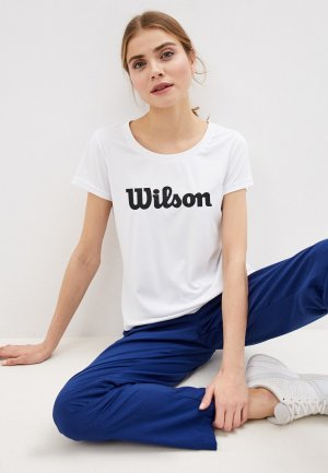 Футболка спортивная Wilson W UWII SCRIPT TECH TEE Wh/Bk. Цвет: белый