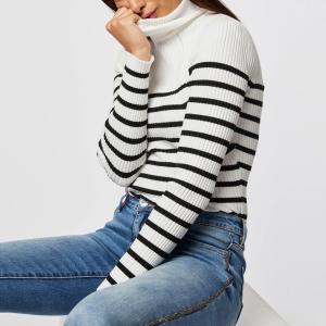 Пуловер-водолазка из тонкого трикотажа MORGAN. Цвет: в полоску белый/черный
