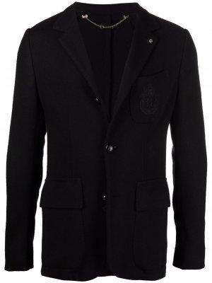 Пиджак узкого кроя с вышивкой Billionaire. Цвет: черный