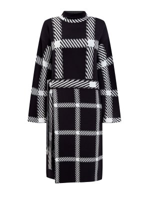 Вязаное платье-oversize из экологически чистой пряжи STELLA McCARTNEY. Цвет: черно-белый