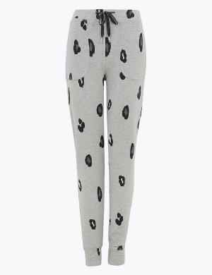 Пижамные брюки с животным принтом и отделкой Flexifit™ M&S Collection. Цвет: серый микс