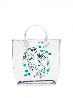 Маленькая прозрачная сумка-тоут с принтом 10 CORSO COMO. Цвет: нейтральные цвета