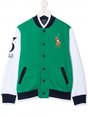 Logo embroidered sports jacket Ralph Lauren Kids. Цвет: зеленый