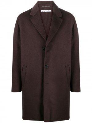 Однобортное пальто Acne Studios. Цвет: коричневый