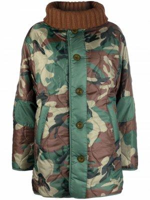 Двустороннее пальто с камуфляжным принтом Semicouture. Цвет: зеленый