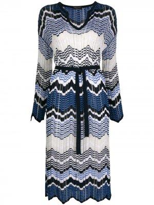 Платье с узором зигзаг Roberto Collina. Цвет: синий