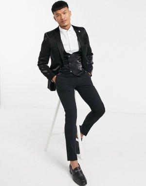Черный блестящий пиджак с бархатными лацканами Twisted Tailor