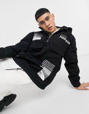 Черная джинсовая куртка без застежки -Черный цвет Bershka