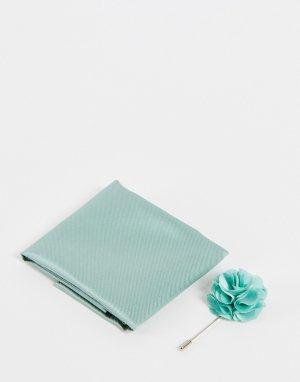 Булавка на лацкан пиджака с цветком и платок-паше -Зеленый цвет Gianni Feraud