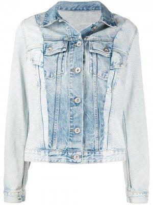 Двухцветная джинсовая куртка UNRAVEL PROJECT. Цвет: синий