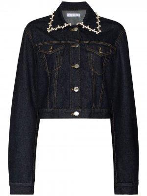 Crystal-pearl trim denim jacket AREA. Цвет: синий