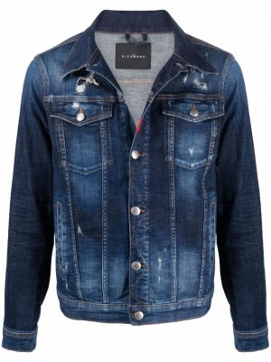 Джинсовая куртка с прорезями John Richmond. Цвет: синий