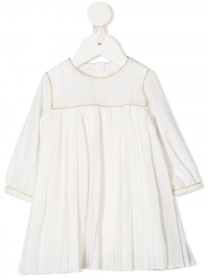 Платье с длинными рукавами и плиссировкой Chloé Kids. Цвет: белый
