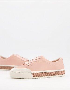Светло-розовые кожаные кроссовки на шнуровке Finley-Бежевый Fiorelli