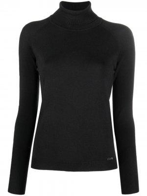 Embellished-logo high-neck T-shirt LIU JO. Цвет: черный
