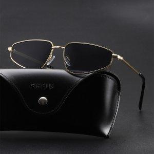 Мужские солнцезащитные очки в металлической оправе SHEIN. Цвет: темно-серый