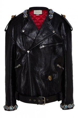 Кожаная куртка с кристаллами Gucci. Цвет: черный
