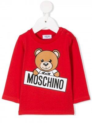 Топ с принтом медведя Moschino Kids. Цвет: красный